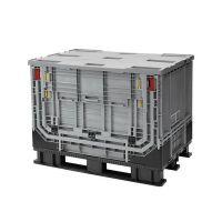 Palettenbox 1211x811x902mm - 590 liter, Kunststoff, mit Tür oben, faltbar