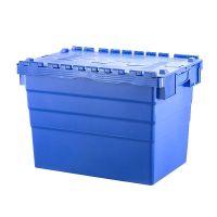 Kunststoffbehälter, 77 l, stapelbar, nestbar, Klappdeckel, 600x400x416mm