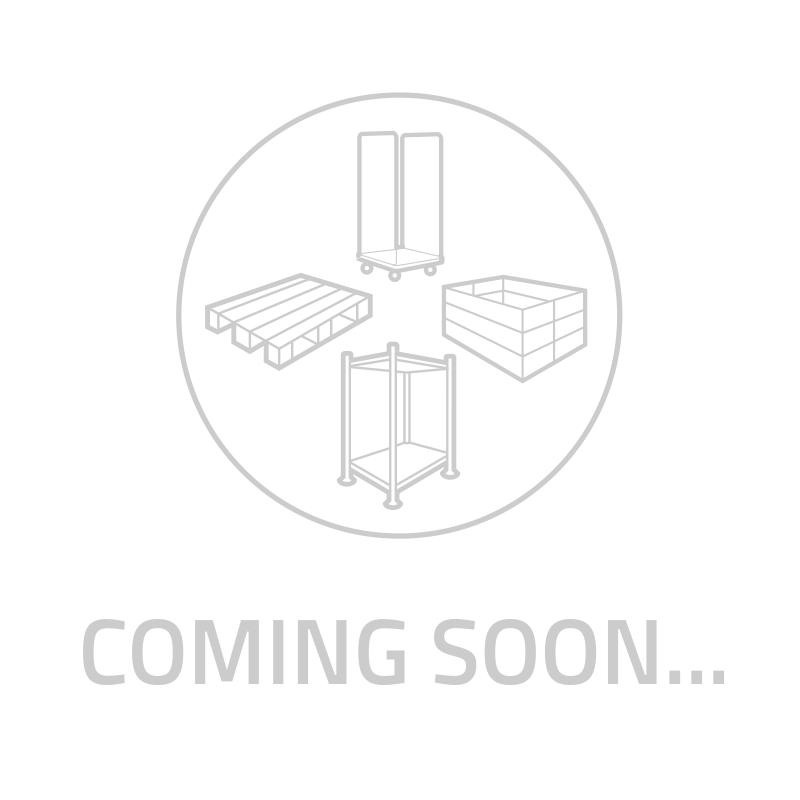 Bockrolle mit Rollenlager für Rollbehälter, PP und Gummi, 100mm Durchmesser