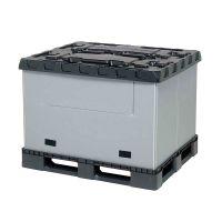 Kunststoff Palettenbox, faltbar, 3 Kufen, mit Schwenkklappe, 1227x1027x965mm